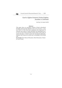 Kant`ın Eğitim Felsefesi: Fiziksel Eğitim, Karakter ve Erdemler