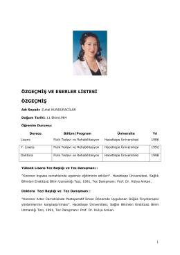 Özgeçmiş - Zonguldak Sağlık Yüksekokulu