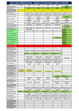 2015-2016 diriliş koleji ilkokul ve ortaokul sınav takvimi