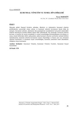 Makaleyi Yazdır - Ekonomi ve Yönetim Araştırmaları Dergisi