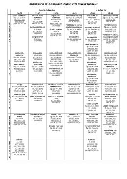 gördes myo 2015-2016 güz dönemi vize sınav programı örgün