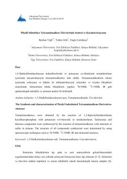 Adıyaman Üniversitesi Fen Bilimleri Dergisi Yıl : 1 Sayı : 1