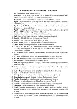 IE 477-478 Proje Listesi ve Tanımları (2015-2016)