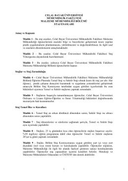 Celal Bayar Üniversitesi Malzeme Mühendisliği Bölümü Staj