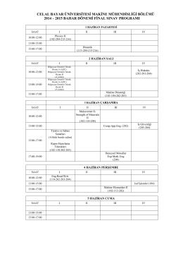 celal bayar üniversitesi makine mühendisliği bölümü 2014 – 2015
