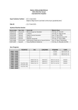 2015-2016 Güz Yarıyılı Lisans Üstü Ders Programı