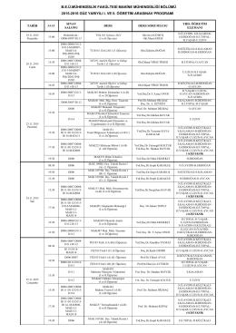 beü.mühendislik fakültesi makine mühendisliği bölümü 2015