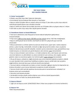 ÖZET BİLGİ FORMU 302-6 MAKİNE PARKLARI 1) Kimler