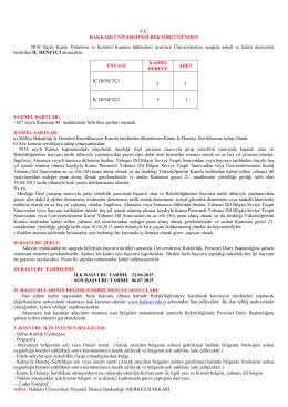 T.C. HAKKARİ ÜNİVERSİTESİ REKTÖRLÜĞÜNDEN 5018 Sayılı