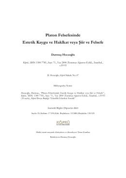 Platon Felsefesinde Estetik Kaygu ve Hakîkat veya Şiir ve Felsefe