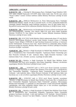 6 Mayıs 2015 Tarihli Meclis Kararları