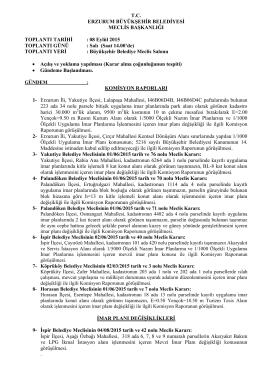 08 Eylül 2015 TOPLANTI GÜNÜ - Erzurum Büyükşehir Belediyesi