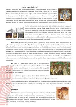 SANAT TARİHİ BÖLÜMÜ Öncelikli amacı, sanat tarihi eğitimini geniş