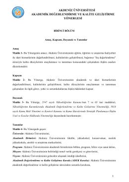 ADEK Yönergesi - Kalite Yönetim Birimi