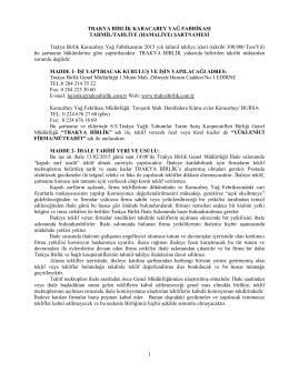 1 TRAKYA BİRLİK KARACABEY YAĞ FABRİKASI TAHMİL/TAHLİYE