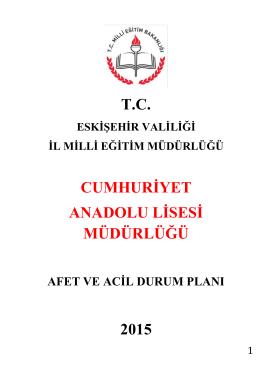 Afet ve Acil Durum Planı - Cumhuriyet Anadolu Lisesi