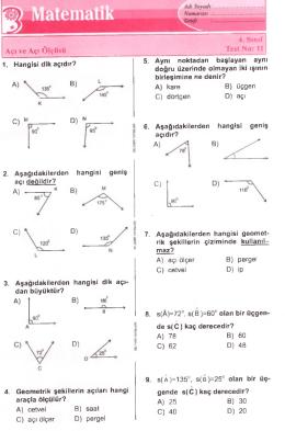 4.sınıf Mat Açılar Test.