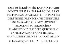 fzm 456 ileri optik laboratuvarı deneyleri 03.03.2015 salı günü saat