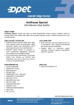 Antifreeze Special - Opet Madeni Yağları