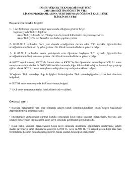 Başvuru Belgeleri için tıklayını - İzmir Yüksek Teknoloji Enstitüsü