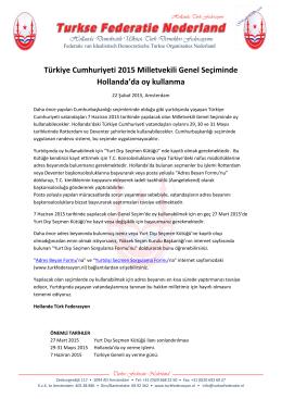 Türkiye Cumhuriyeti 2015 Milletvekili Genel Seçiminde Hollanda`da