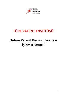 Online patent başvuru sonrası işlemlerine ait Kullanım Kılavuzunu