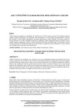 afet yönetimi ve karar destek mekanizması yazılımı