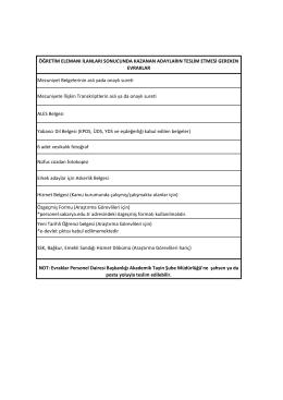 Yeni Tarihli Öğrenci belgesi (Araştırma Görevlileri için) *e