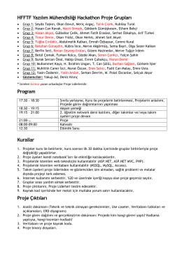HFFTF Yazılım Mühendisliği Hackathon Proje Grupları Program