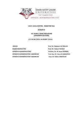 2015–2016 EĞİTİM - ÖĞRETİM YILI DÖNEM II III. KURUL DERS