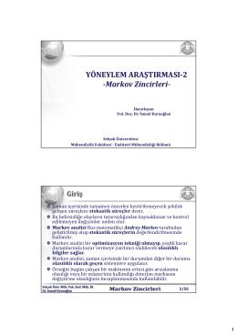 YÖNEYLEM ARAŞTIRMASI-2 -Markov Zincirleri-
