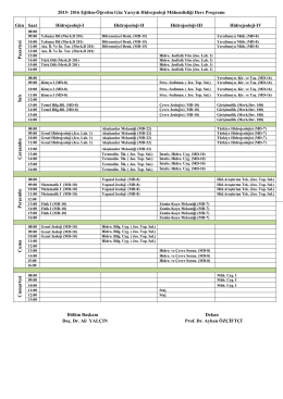 2015-2016 Eğitim-Öğretim Yılı Hidrojeoloji Mühendisliği Bölümü