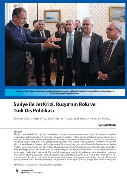 Suriye ile Jet Krizi, Rusya`nın Rolü ve Türk Dış Politikası