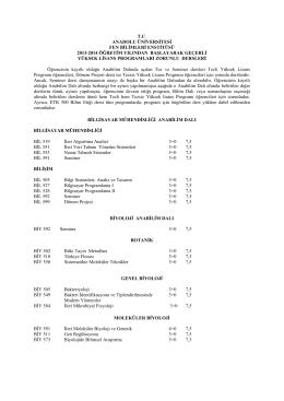 2013-2014 Öğretim Yılı Geçerli Yüksek Lisans ve Doktora
