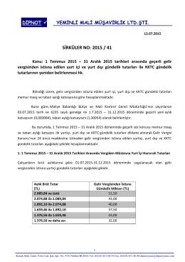 sırk 2015-41 01 temmuz 2015 tarihinden sonra geçerli