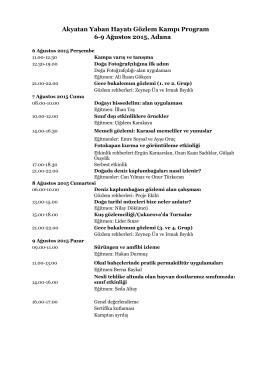 Akyatan Yaban Hayatı Gözlem Kampı Program 6-9 Ağustos