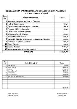 Sıra No Ödeme Kalemleri Tutar 72.030,00 23 NİSAN ZEHRA HANIM