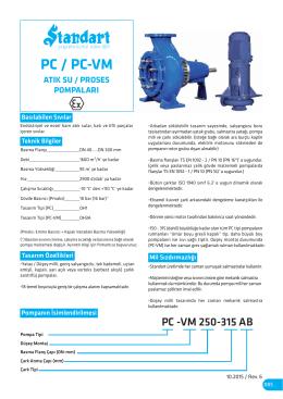 PC / PC-VM - Atık Su ve Proses Pompaları (Yatay