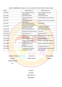 TARİH ÖĞLE KAHVALTISI İKİNDİ KAHVALTISI 4.01.2016 Ballı