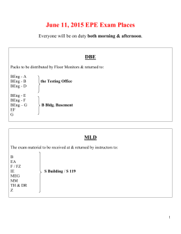 June 11, 2015 EPE Exam Places