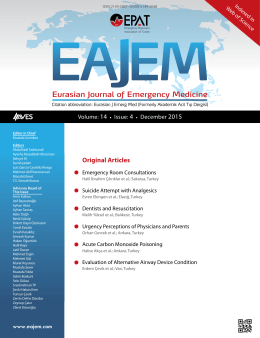 Original Articles - Eurasian Journal of Emergency Medicine