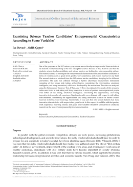 Examining Science Teacher Candidates` Entrepreneurial