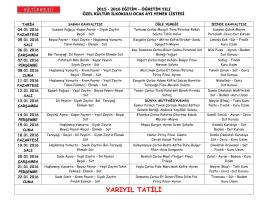 Ocak Ayı Yemek Listesi