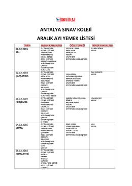 Aralık - Antalya Sınav Koleji