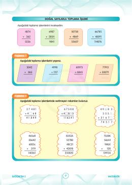 4. Sınıf Matematik toplama İşlemi Bütün Etkinlik ve Testleri