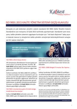 ıso 9001:2015 kalite yönetim sistemi geçiş kılavuzu