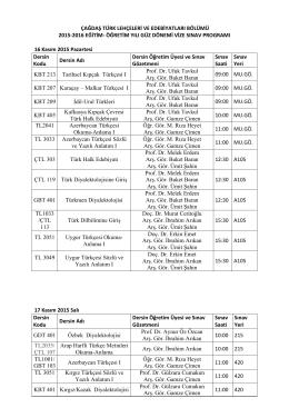 çağdaş türk lehçeleri ve edebiyatları bölümü 2007