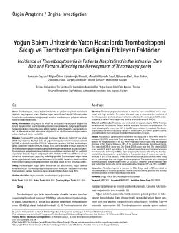 Tam Metin  - Dahili ve Cerrahi Bilimler Yoğun Bakım Dergisi