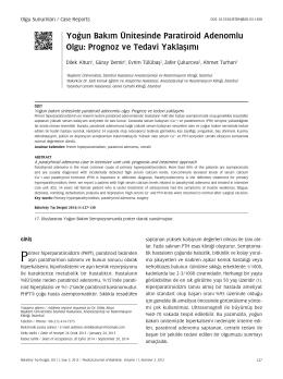 Yoğun Bakım Ünitesinde Paratiroid Adenomlu Olgu: Prognoz ve