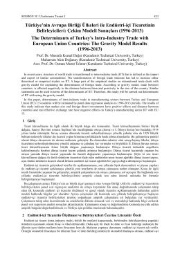 Türkiye`nin Avrupa Birliği Ülkeleri ile Endüstri